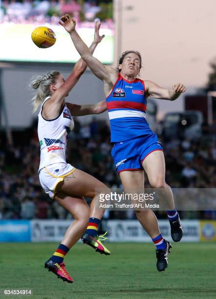 Emma Kearney of the Bulldogs and Deni Varnhagen of the Crows compete for the ball during the 2017 AFLW Round 02 match between the Western Bulldogs...