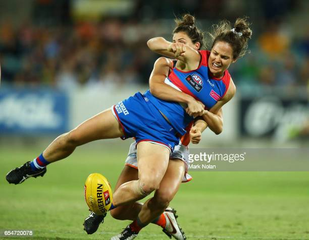 Emma Kearney of the Bulldogs is tackled during the round seven AFL Women's match between the Greater Western Sydney Giants and the Western Bulldogs...