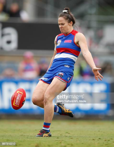 Emma Kearney of the Bulldogs kicks a goal during the 2018 AFLW Grand Final match between the Western Bulldogs and the Brisbane Lions at IKON Park on...