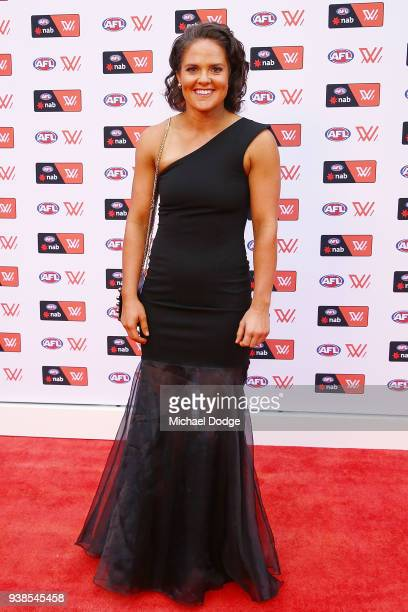 Emma Kearney of the Bulldogs poses ahead of the 2018 AFW Awards at The Peninsula on March 27 2018 in Melbourne Australia