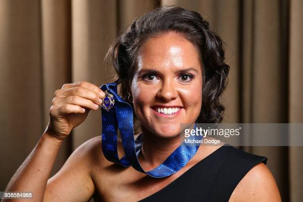 Emma Kearney of the Bulldogs poses with the AFLW Medal the 2018 AFW Awards at The Peninsula on March 27 2018 in Melbourne Australia