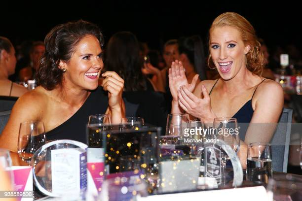 Emma Kearney of the Bulldogs reacts next to Kate Shierlaw after winning the AFLW Medal the 2018 AFW Awards at The Peninsula on March 27 2018 in...
