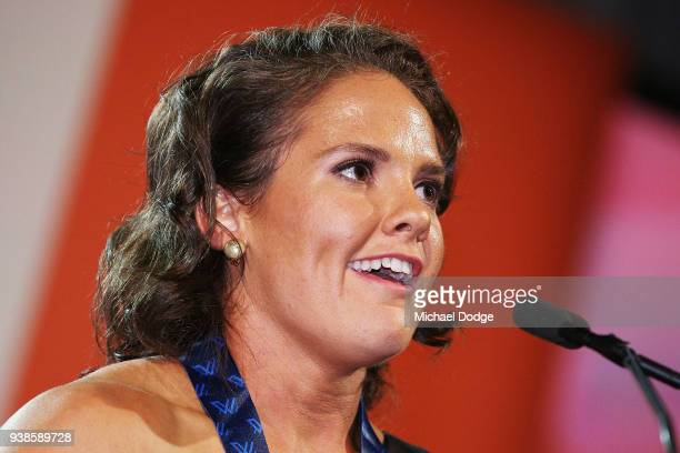 Emma Kearney of the Bulldogs speaks after winning the AFLW Medal the 2018 AFW Awards at The Peninsula on March 27 2018 in Melbourne Australia