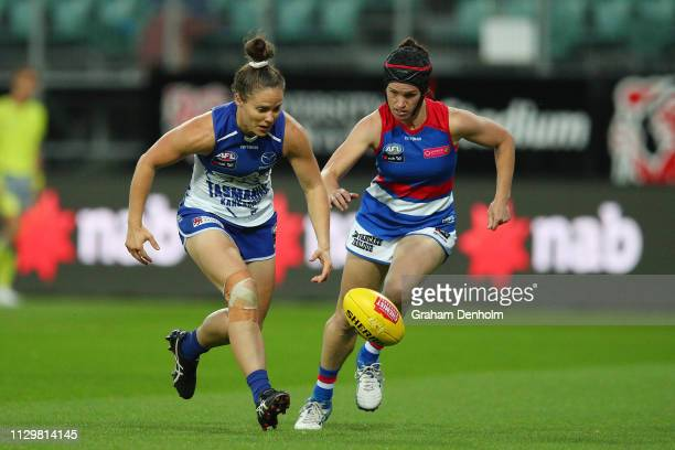 Emma Kearney of the Kangaroos chases the ball during the round three AFLW match between the North Melbourne Kangaroos and the Western Bulldogs at the...