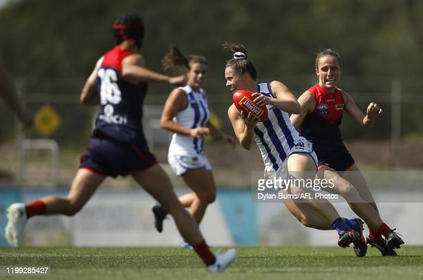 Emma Kearney of the Kangaroos in action during the 2020 AFLW Round 01 match between the Melbourne Demons and the North Melbourne Kangaroos at Casey...