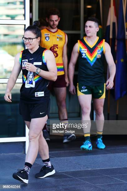 Emma Kearney wears her jumper during a We Are Pride Cup Launch press conference at AFL House on June 6 2018 in Melbourne Australia
