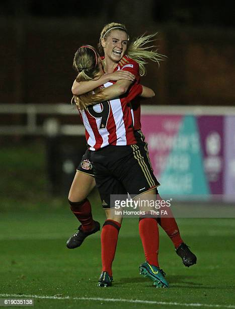 Emma Kelly of Sunderland celebrates with Beth Mead after Kelly scores the first Sunderland goal during the WSL1 match between Sunderland AFC Ladies...