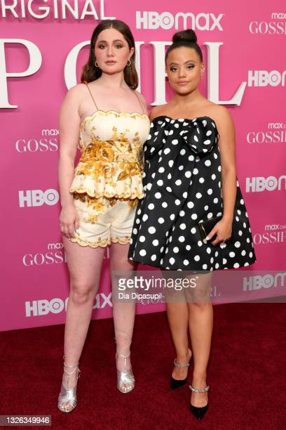 """Emma Kenney and Sarah Jeffery attend the """"Gossip Girl"""" New York Premiere at Spring Studios on June 30, 2021 in New York City."""