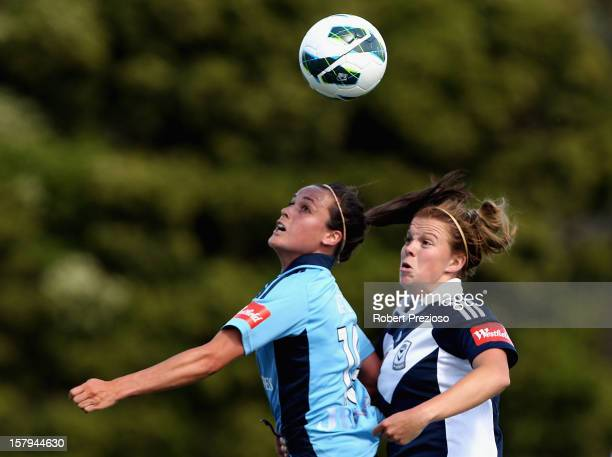 Emma Kete of Sydney and Amy Jackson of the Victory contest the ball during the round eight W-League match between the Melbourne Victory and Sydney FC...