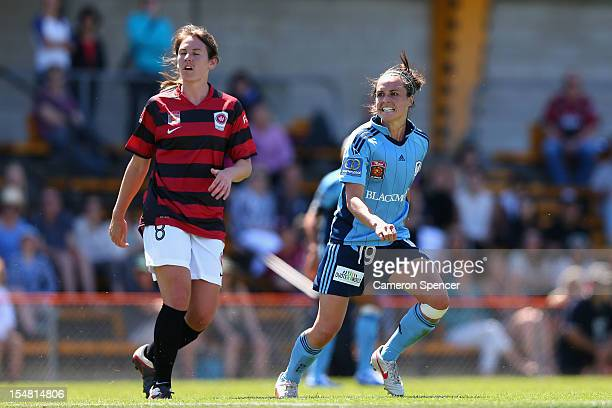 Emma Kete of Sydney FC celebrates kicking a goal during the round two W-League match between Sydney FC and the Western Sydney Wanderers FC at...