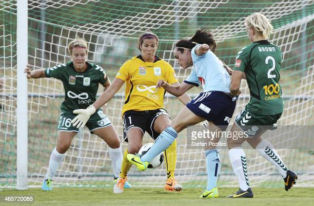 Emma Kete of Sydney FC takes a shot at goal during the round three W-League match between Canberra United and Sydney United at McKellar Park on...
