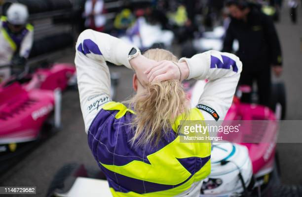 Emma Kimilainen of Finland prepares for a training session prior to the first race of the W Series at Hockenheimring on May 03, 2019 in Hockenheim,...