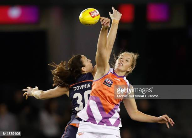 Emma King of the Allies and Alison Downie of Victoria compete in a ruck contest during the AFL Women's State of Origin match between Victoria and the...
