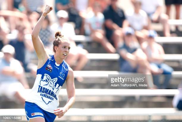 Emma King of the Kangaroos celebrates the Kangaroos first ever AFLW goal during the 2019 NAB AFLW Round 01 match between the North Melbourne...