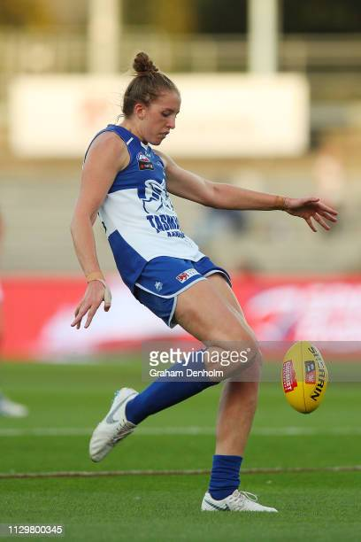 Emma King of the Kangaroos kicks during the round three AFLW match between the North Melbourne Kangaroos and the Western Bulldogs at the University...