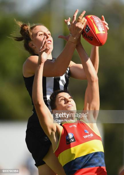 Emma King of the Magpies marks during the round seven AFLW match between the Collingwood Magpies and the Adelaide Crows at Olympic Park on March 18...