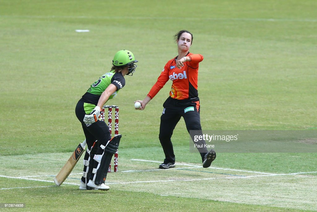 Emma King of the Scorchers bowls during the Women's Big Bash League match between the Sydney Thunder and the Perth Scorchers at Optus Stadium on February 1, 2018 in Perth, Australia.