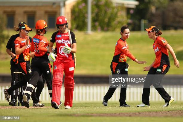 Emma King of the Scorchers celebrates bowling out Chamari Atapattu of the Renegades during the Women's Big Bash League match between the Melbourne...