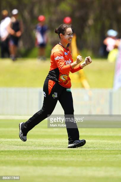 Emma King of the Scorchers celebrates taking the wicket of Ashleigh Gardner of the Sixers during the Women's Big Bash League match between the Perth...