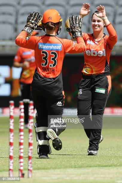 Emma King of the Scorchers celebrates the wicket of Nicola Carey of the Thunder during the Women's Big Bash League match between the Sydney Thunder...