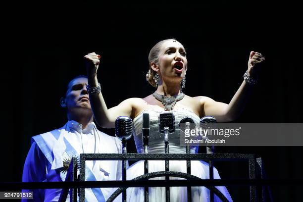 Emma Kingston playing the role of Eva Peron performs on stage during the Evita media call on February 27 2018 in Singapore Winner of over 20 major...