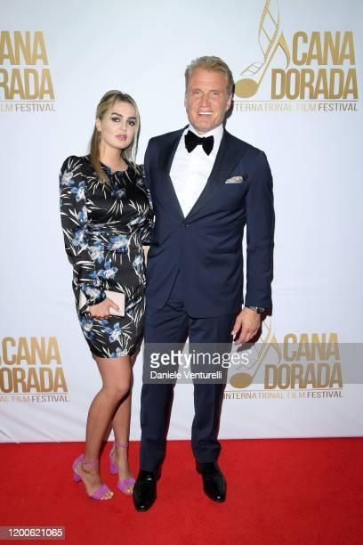 Emma Krokdal and Dolph Lundgren attends Cana Dorada Film & Music Festival - Closing Gala Dinner: Honoring Avi Lerner on January 19, 2020 in Punta...