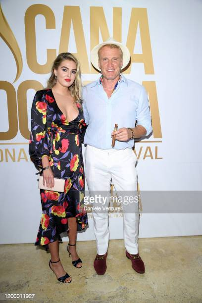 Emma Krokdal and Dolph Lundgren attends Cana Dorada Film Music Festival Soft Opening Dominican Night on January 16 2020 in Punta Cana Dominican...