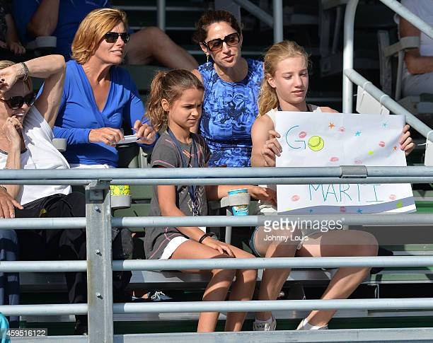 Emma Lemigova and Victoria Lemigova participate in the 25th Annual Chris Evert/Raymond James ProCelebrity Tennis Classic at Delray Beach Tennis...