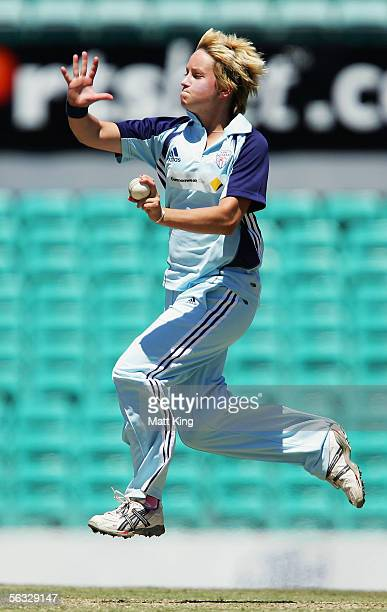 Emma Liddell of the Breakers bowls during the WNCL match between the NSW Breakers and the Queensland Fire at the Sydney Cricket Ground December 4...