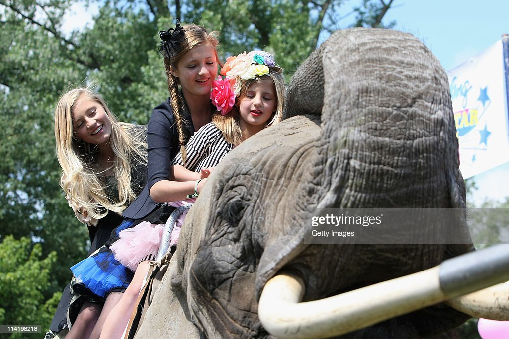 Emma Lilli Luna Schweiger On An Elephant At Boomerang