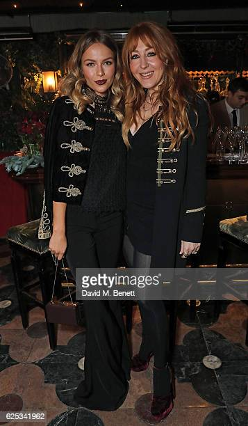 Emma Louise Connolly and Charlotte Tilbury attend the Legendary Dinner Party hosted by Charlotte Tilbury at Annabel's Mayfair on November 23 2016 in...