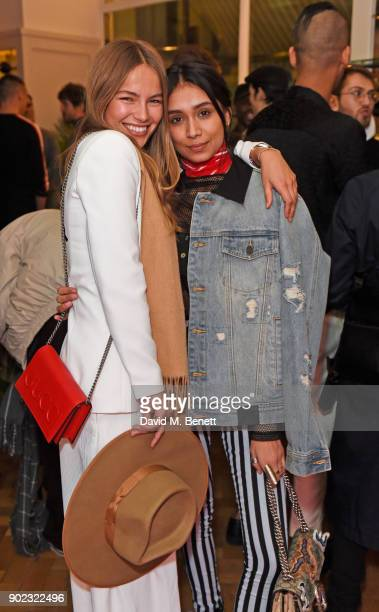 Emma Louise Connolly and Shree Patel attend the Topman LFWM party at Mortimer House on January 7 2018 in London England
