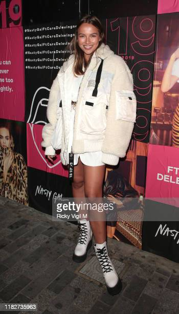 Emma Louise Connolly seen attending Cara Delevingne x Nasty Gal launch party at The Box club in Soho on October 22 2019 in London England