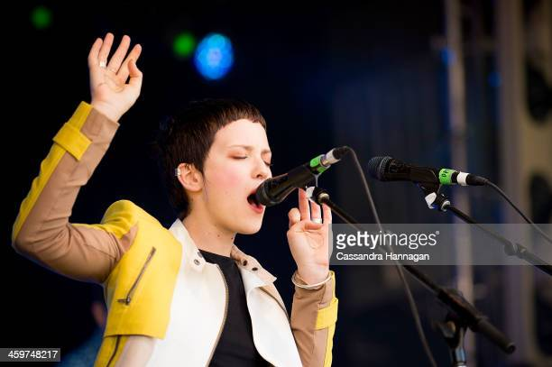 Emma Louise performs on stage during Falls Festival on December 30 2013 in Lorne Australia