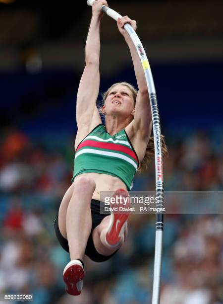 Emma Lyons competes in the women's pole vault during the Aviva European Trials and UK Championships at the Alexander Stadium Birmingham