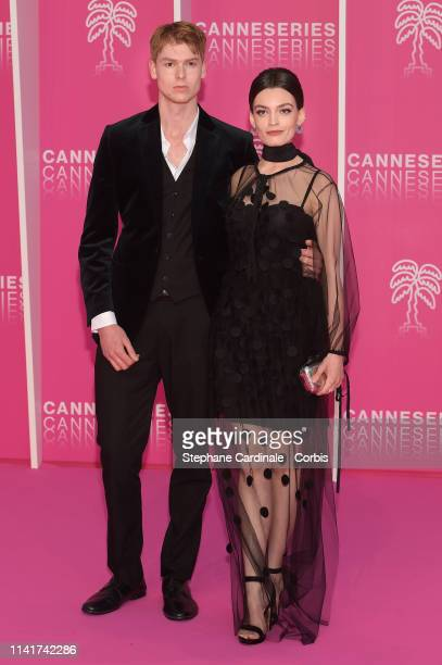 Emma Mackey and Dan Whitlam pose on the pink carpet prior the closing ceremony of the 2nd Canneseries - International Series Festival on April 10,...