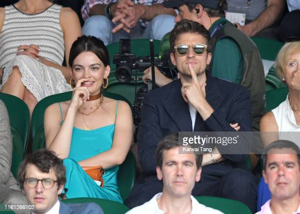 Emma Mackey and Greg James attend day nine of the Wimbledon Tennis Championships at All England Lawn Tennis and Croquet Club on July 10 2019 in...