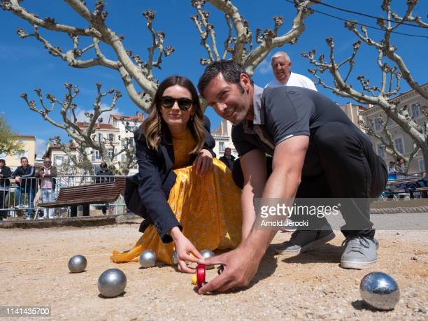 Emma Mackey attends a petanque contest on day five of the 2nd Canneseries International Series Festival, on April 09, 2019 in Cannes, France.