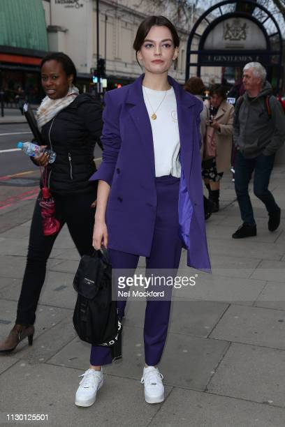 Emma Mackey attends House of Holland at Ambika P3 during LFW February 2019 on February 16, 2019 in London, England.