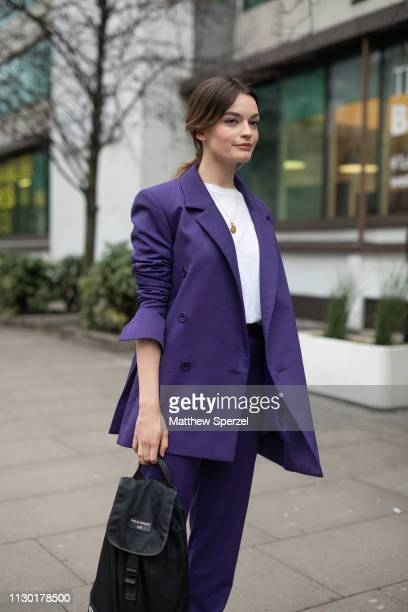 Emma Mackey is seen on the street during London Fashion Week February 2019 wearing House of Holland on February 16 2019 in London England