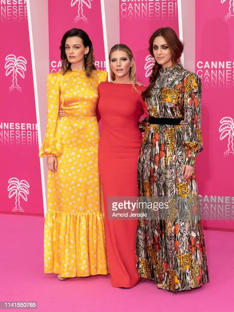 Emma Mackey, Katheryn Winnick and Miriam Leone attends day five of the 2nd Canneseries International Series Festival, on April 09, 2019 in Cannes,...