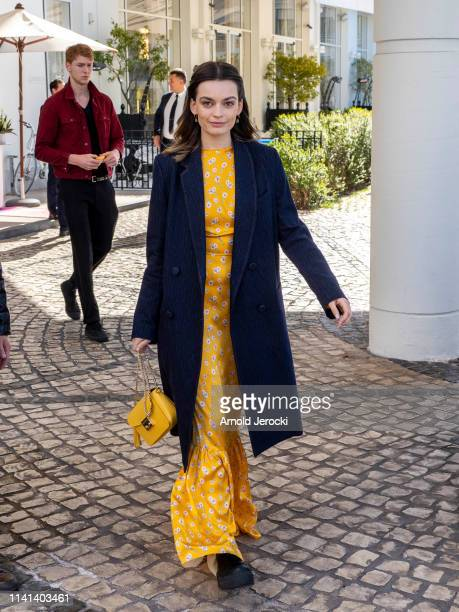 Emma Mackey leaves the hotel on day five of the 2nd Canneseries International Series Festival on April 09 2019 in Cannes France
