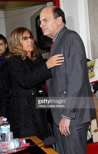 Emma Marcegaglia and Pier Luigi Bersani attend 'Il futuro e di tutti ma e uno solo' book presentation held at Casa della cultura on January 18 2011...