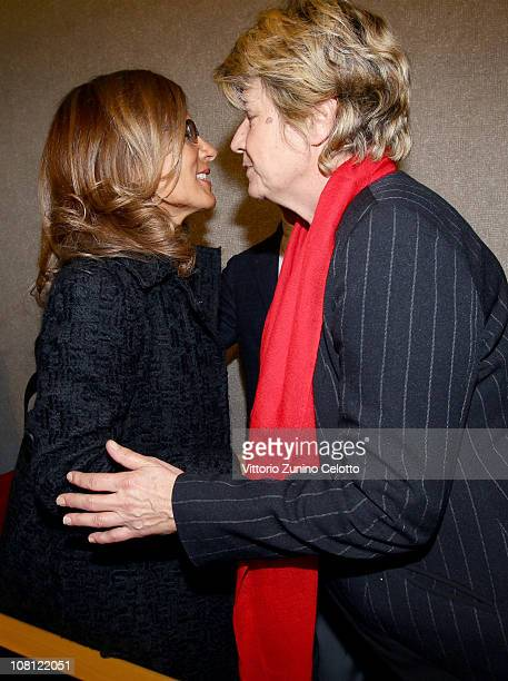 Emma Marcegaglia and Susanna Camusso attend 'Il futuro e di tutti ma e uno solo' book presentation held at Casa della cultura on January 18 2011 in...