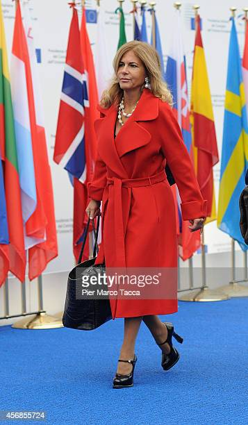 Emma Marcegaglia arrives at the Conference on Employment in Europe on October 8 2014 in Milan Italy The summit is chaired by the President of the...