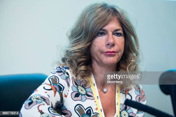 Emma Marcegaglia chairman of Eni SpA arrives for the annual general meeting in their headquarters in Rome Italy on Thursday May 10 2018 Eni has no...