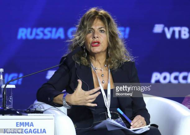Emma Marcegaglia, chairman of Eni SpA, gestures as she speaks during a panel session at the annual VTB Capital 'Russia Calling' Forum in Moscow,...