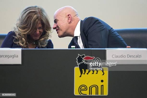 Emma Marcegaglia chairman of Eni SpA left and Claudio Descalzi chief executive officer of Eni SpA have a conversation during the Future Of Energy...
