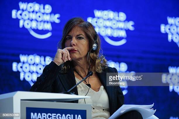 Emma Marcegaglia chairman of Eni SpA listens during a panel session at the World Economic Forum in Davos Switzerland on Thursday Jan 21 2016 World...