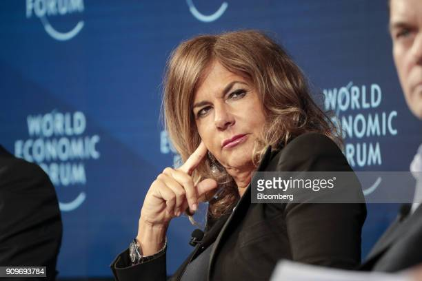 Emma Marcegaglia, chairman of Eni SpA, pauses during a Bloomberg panel session on day two of the World Economic Forum in Davos, Switzerland, on...